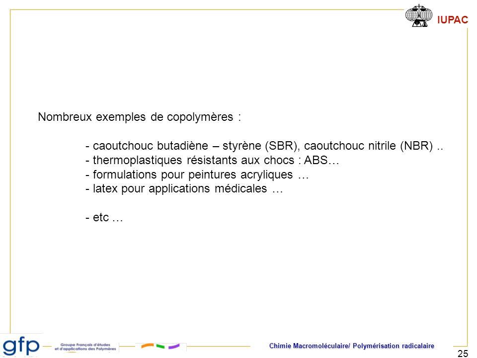 Nombreux exemples de copolymères :