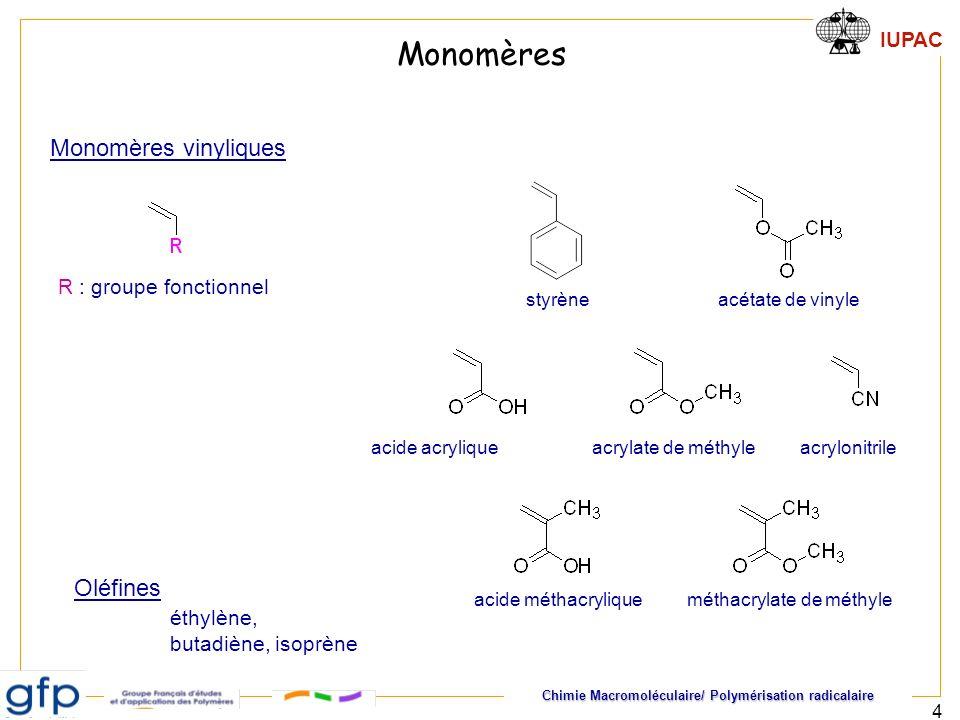Monomères Monomères vinyliques Oléfines éthylène,