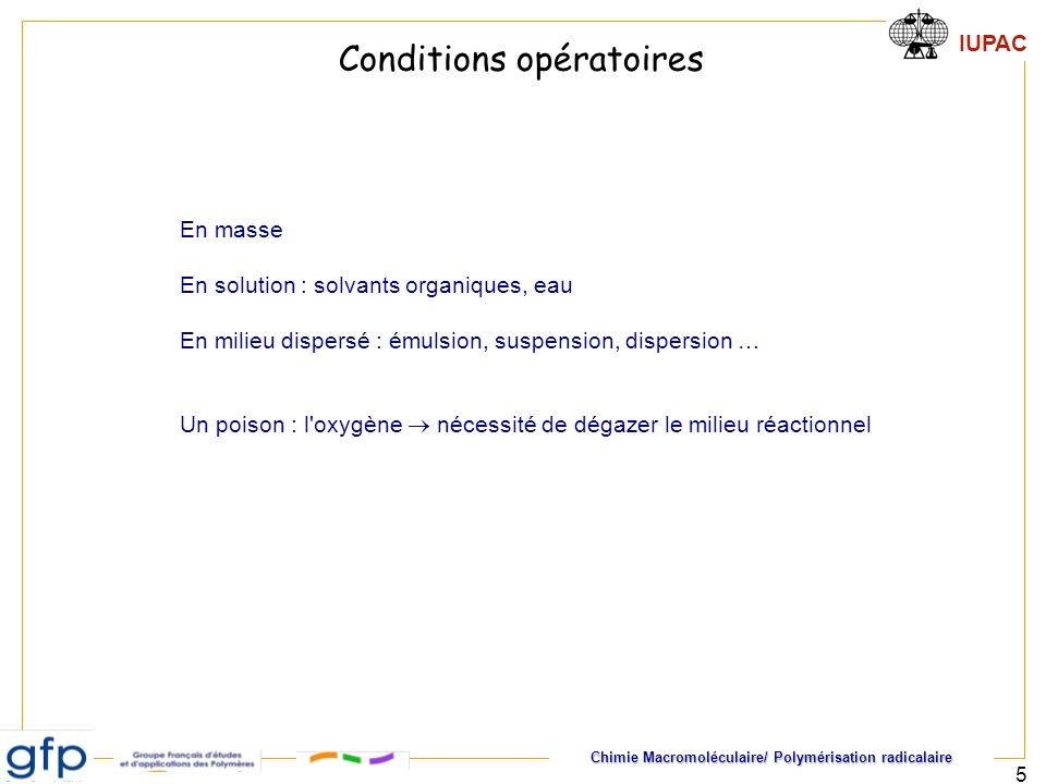 Conditions opératoires