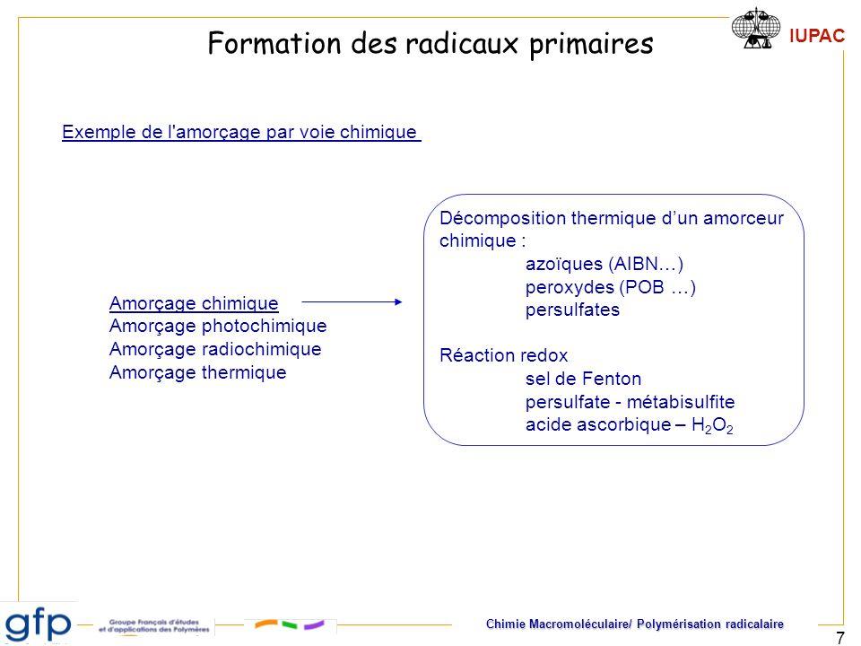 Formation des radicaux primaires