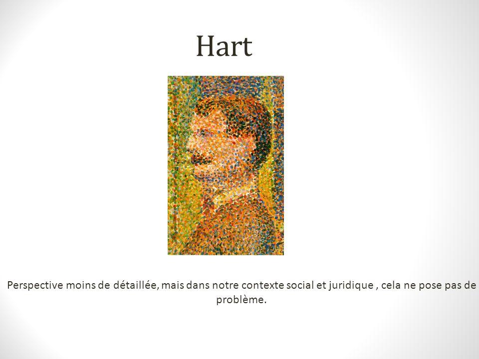 Hart Perspective moins de détaillée, mais dans notre contexte social et juridique , cela ne pose pas de problème.