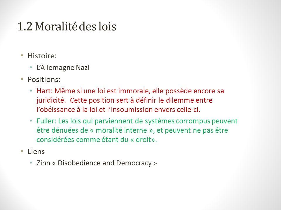1.2 Moralité des lois Histoire: Positions: Liens L'Allemagne Nazi