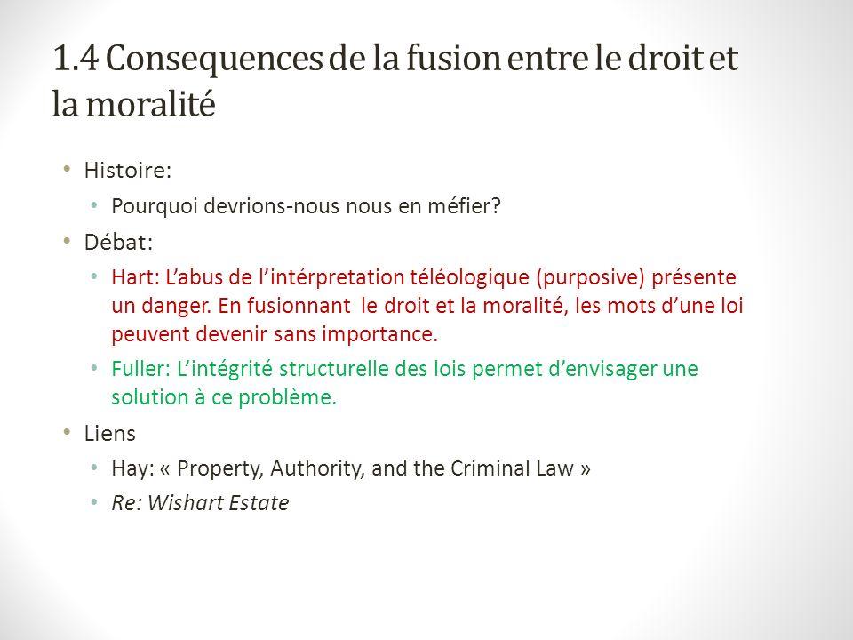 1.4 Consequences de la fusion entre le droit et la moralité