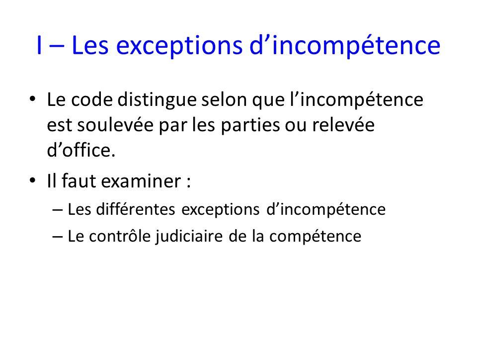 I – Les exceptions d'incompétence