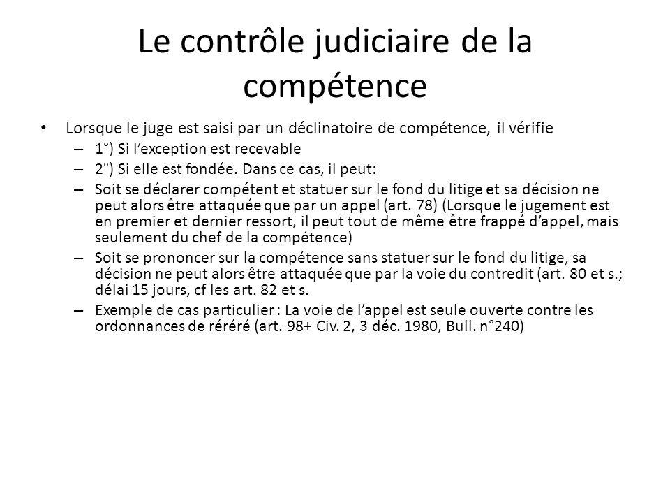 Le contrôle judiciaire de la compétence