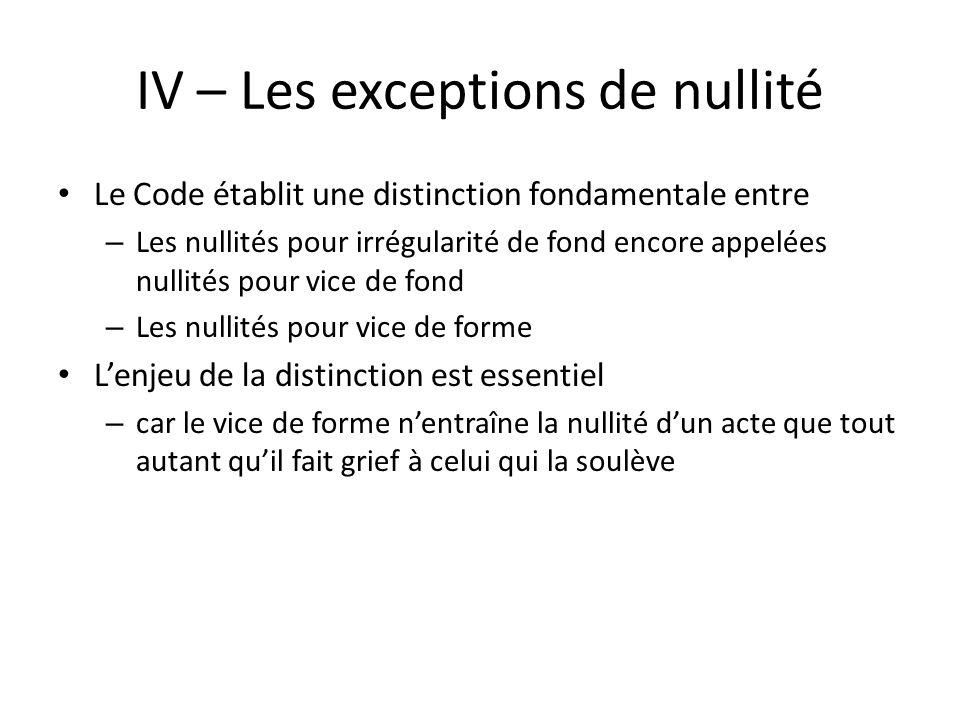 IV – Les exceptions de nullité