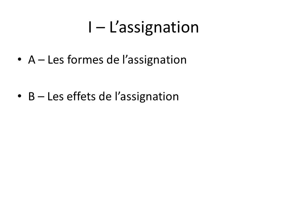 I – L'assignation A – Les formes de l'assignation