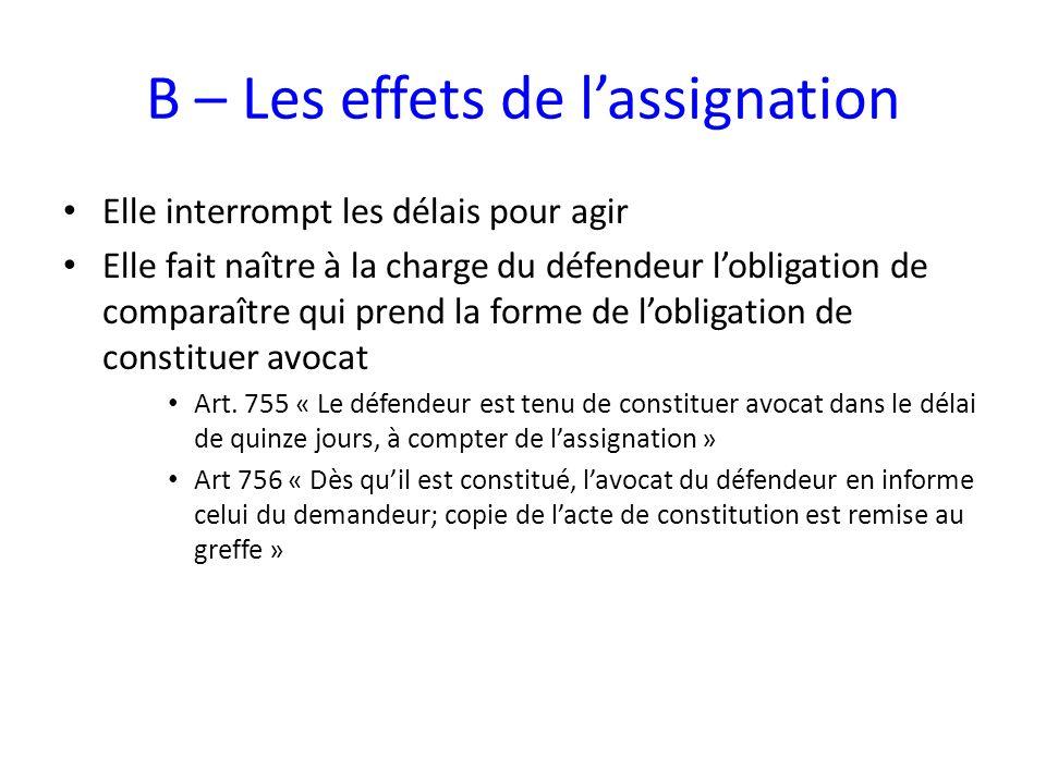 B – Les effets de l'assignation