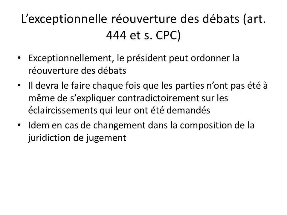 L'exceptionnelle réouverture des débats (art. 444 et s. CPC)