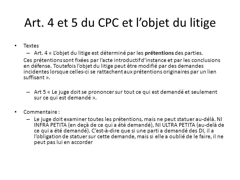 Art. 4 et 5 du CPC et l'objet du litige