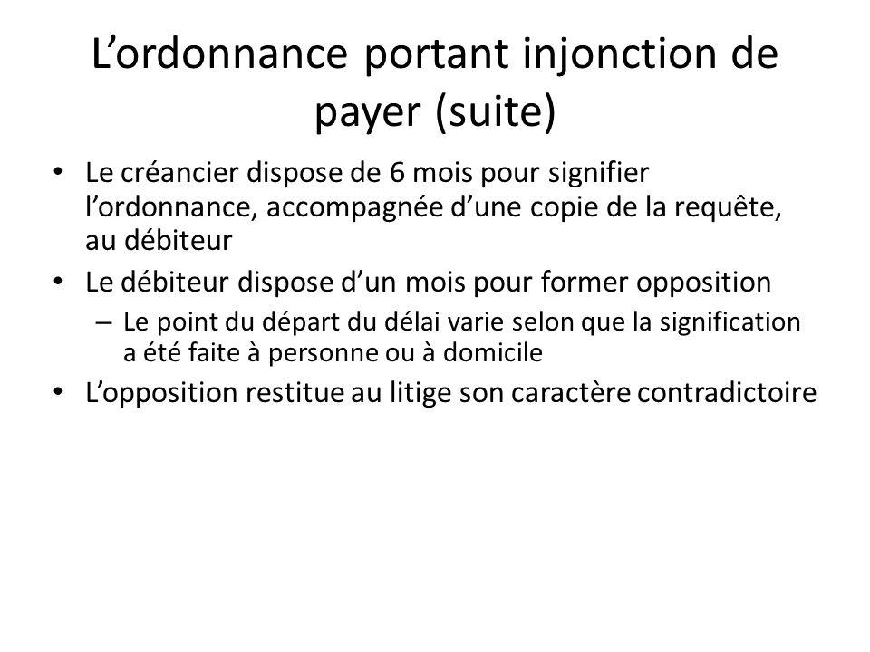 L'ordonnance portant injonction de payer (suite)