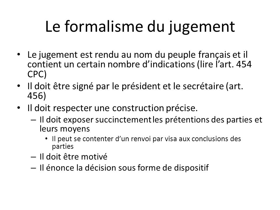 Le formalisme du jugement