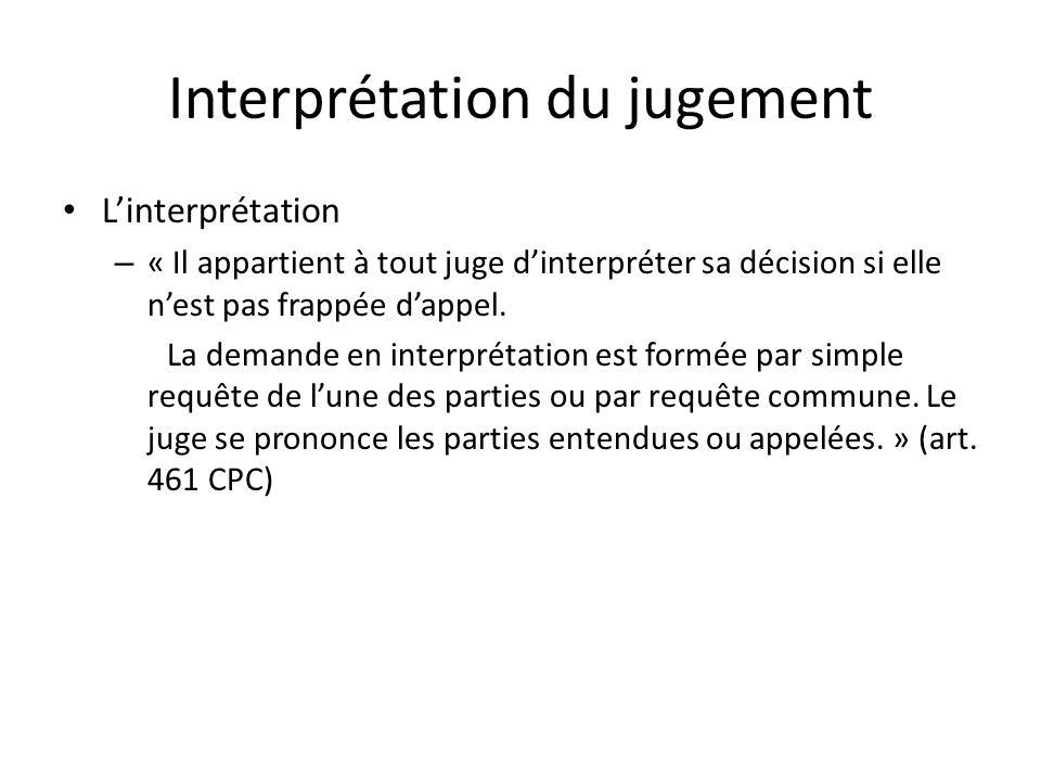 Interprétation du jugement