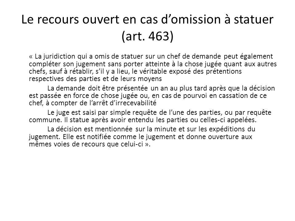 Le recours ouvert en cas d'omission à statuer (art. 463)