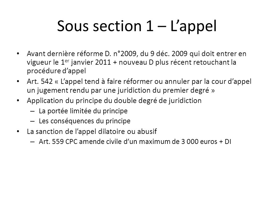 Sous section 1 – L'appel