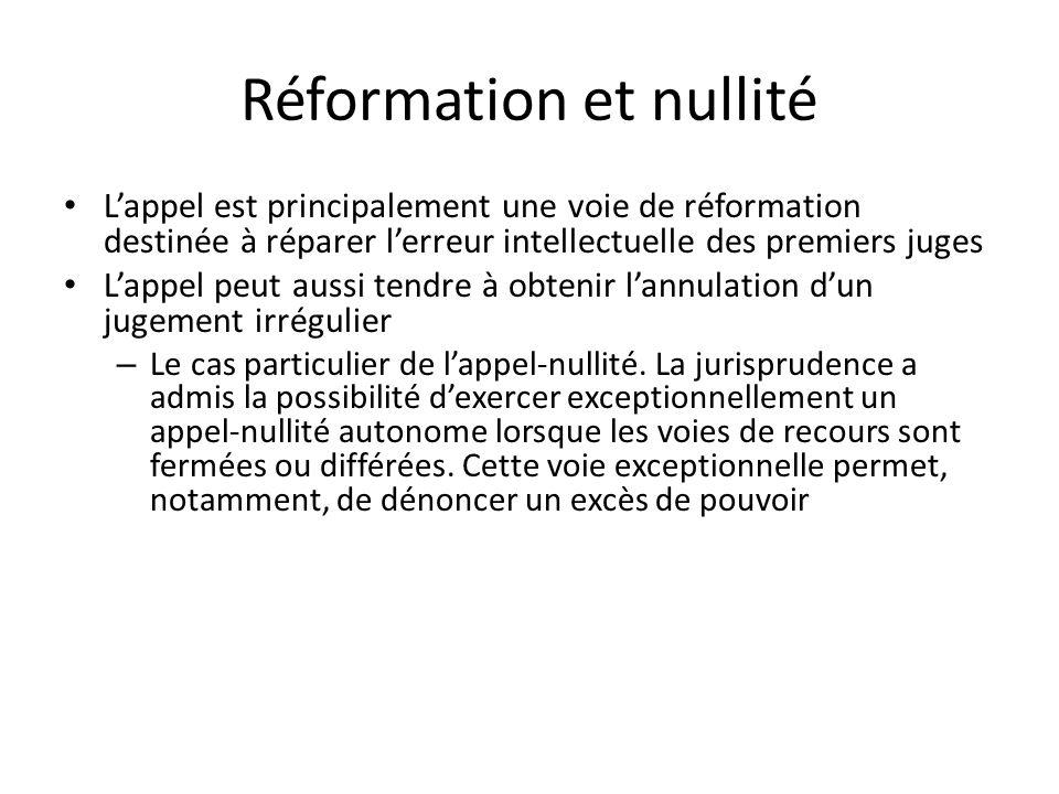 Réformation et nullité