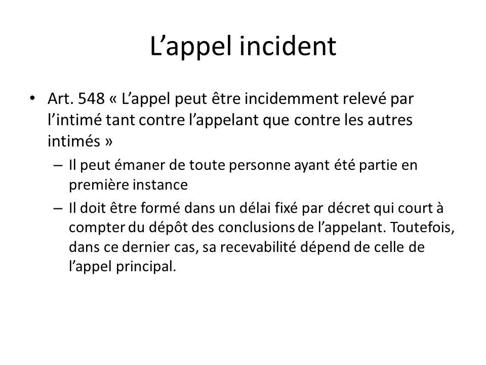 L'appel incident Art. 548 « L'appel peut être incidemment relevé par l'intimé tant contre l'appelant que contre les autres intimés »