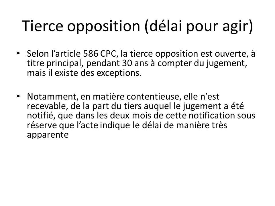 Tierce opposition (délai pour agir)