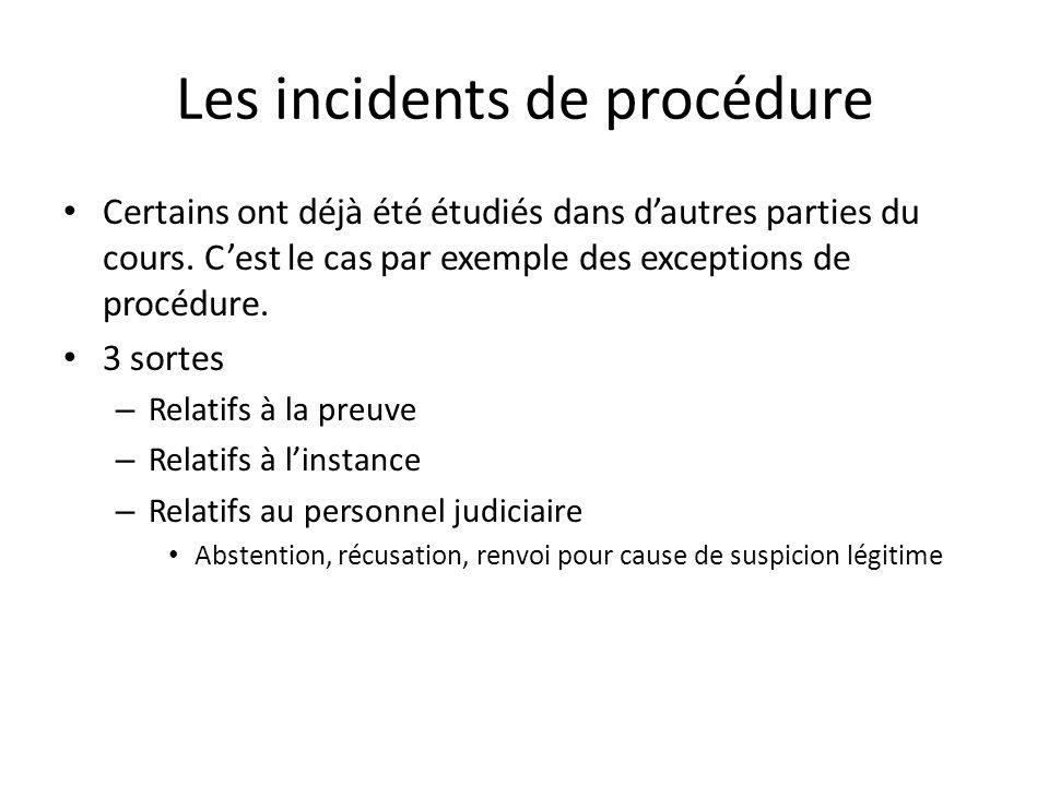Les incidents de procédure