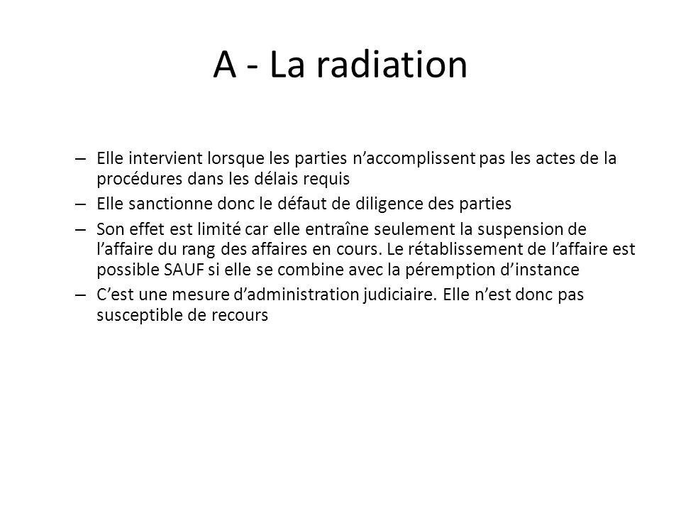 A - La radiation Elle intervient lorsque les parties n'accomplissent pas les actes de la procédures dans les délais requis.