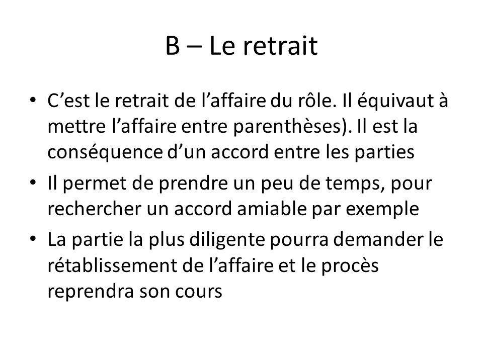 B – Le retrait