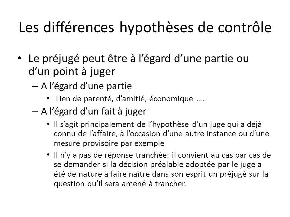 Les différences hypothèses de contrôle