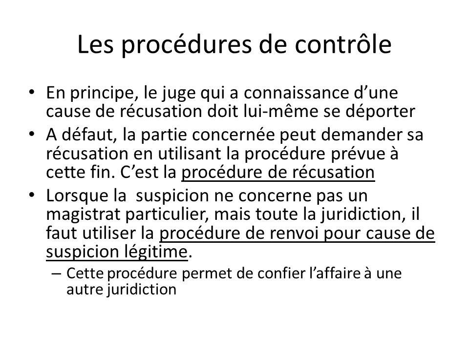 Les procédures de contrôle
