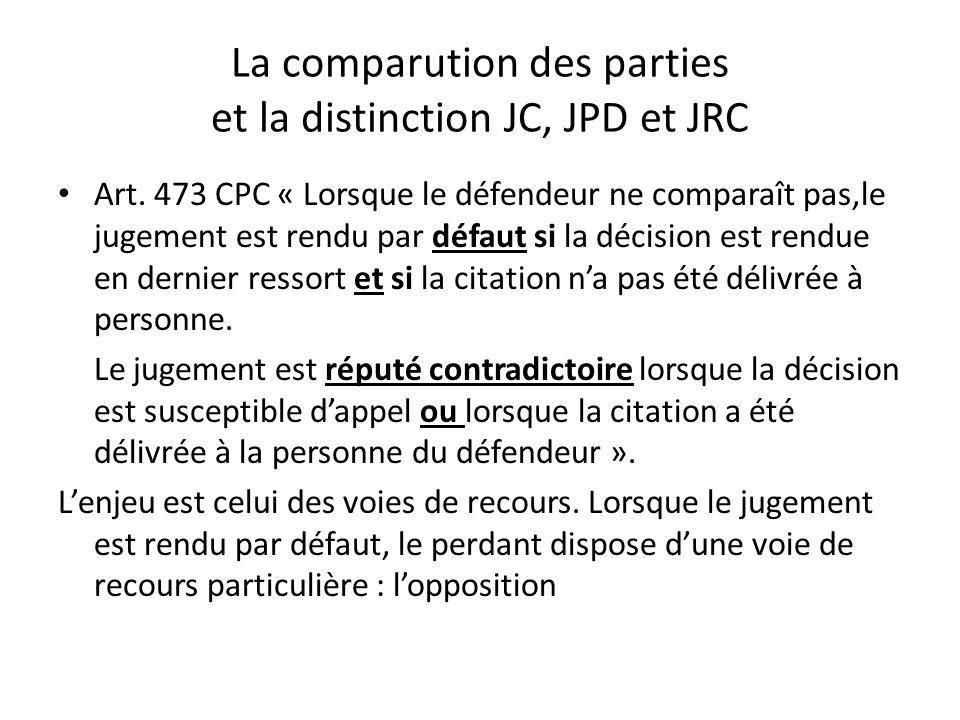 La comparution des parties et la distinction JC, JPD et JRC