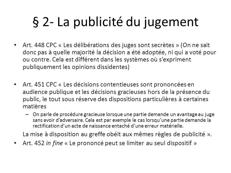 § 2- La publicité du jugement
