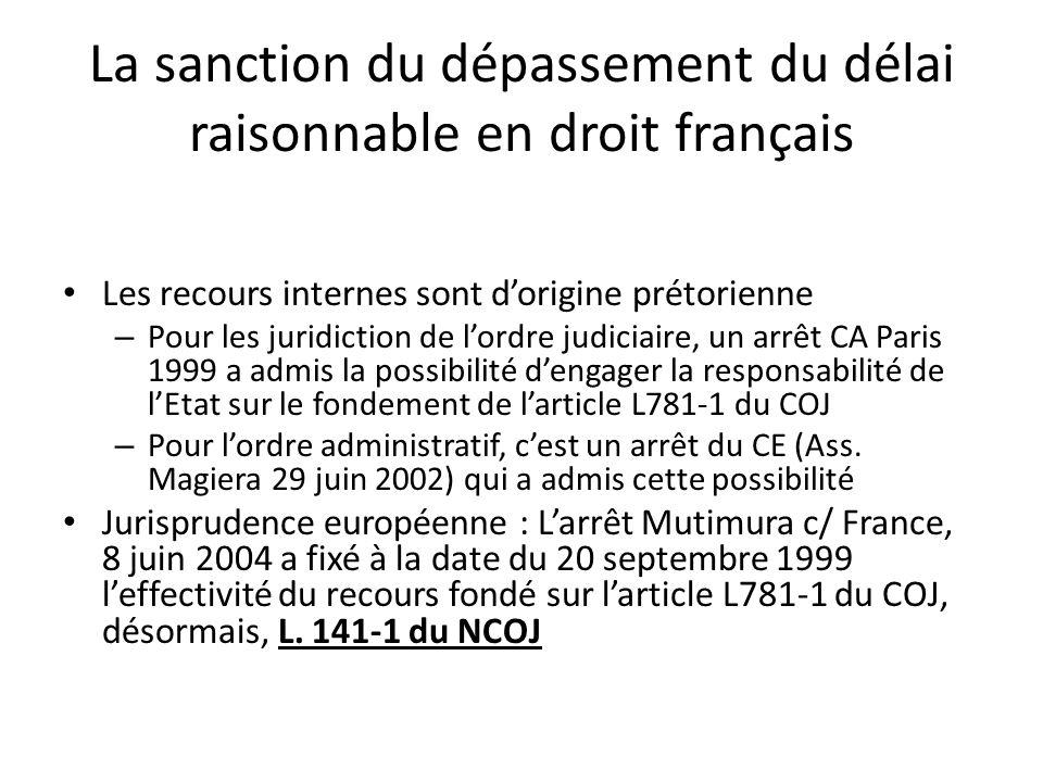 La sanction du dépassement du délai raisonnable en droit français
