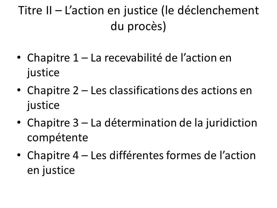 Titre II – L'action en justice (le déclenchement du procès)