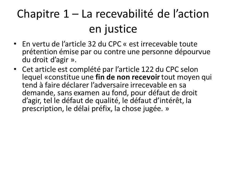 Chapitre 1 – La recevabilité de l'action en justice