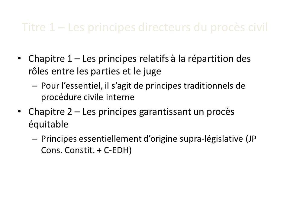 Titre 1 – Les principes directeurs du procès civil