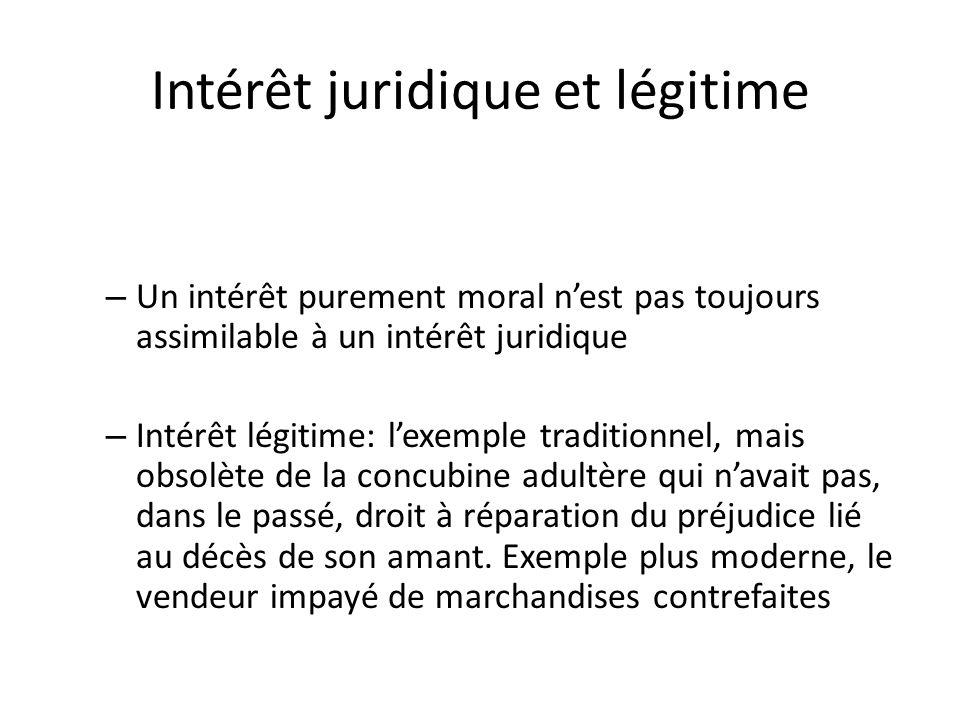 Intérêt juridique et légitime