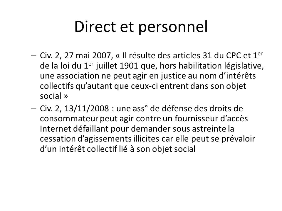 Direct et personnel