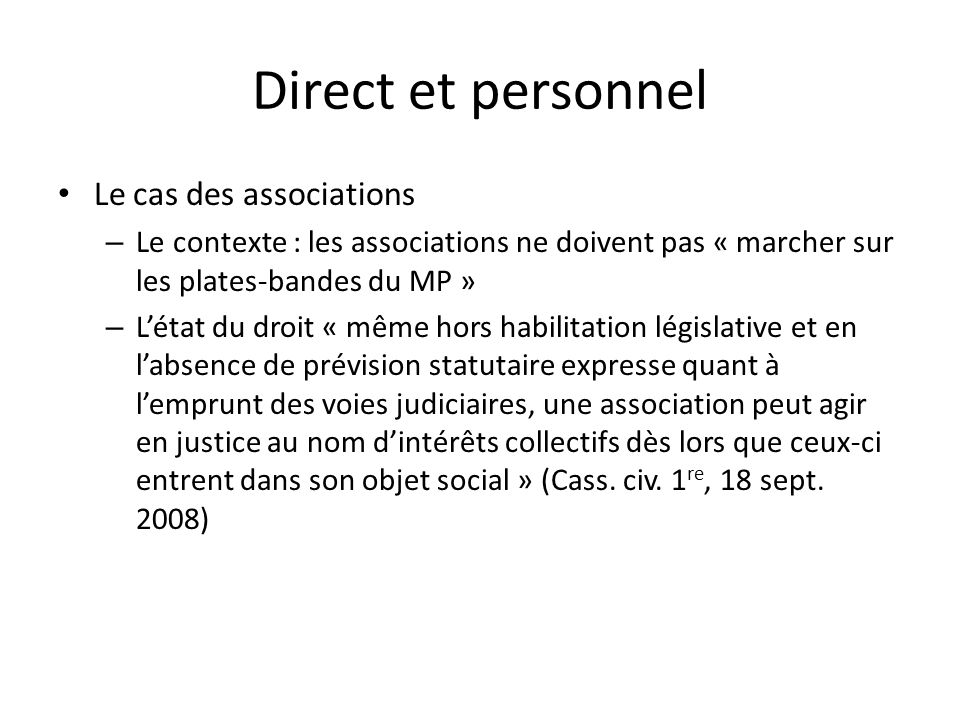 Direct et personnel Le cas des associations