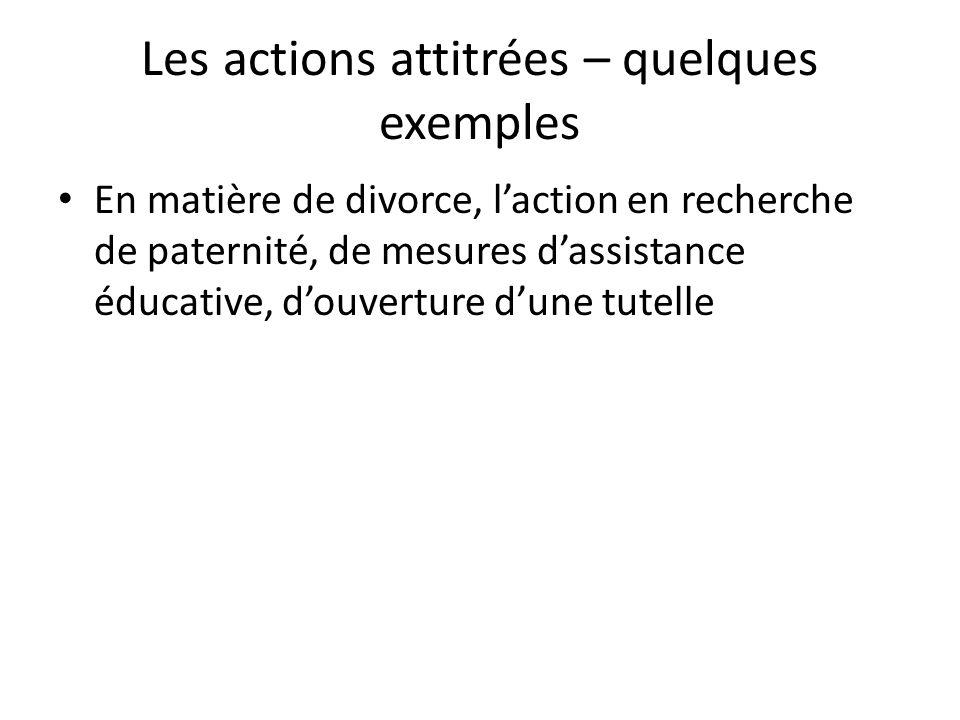 Les actions attitrées – quelques exemples