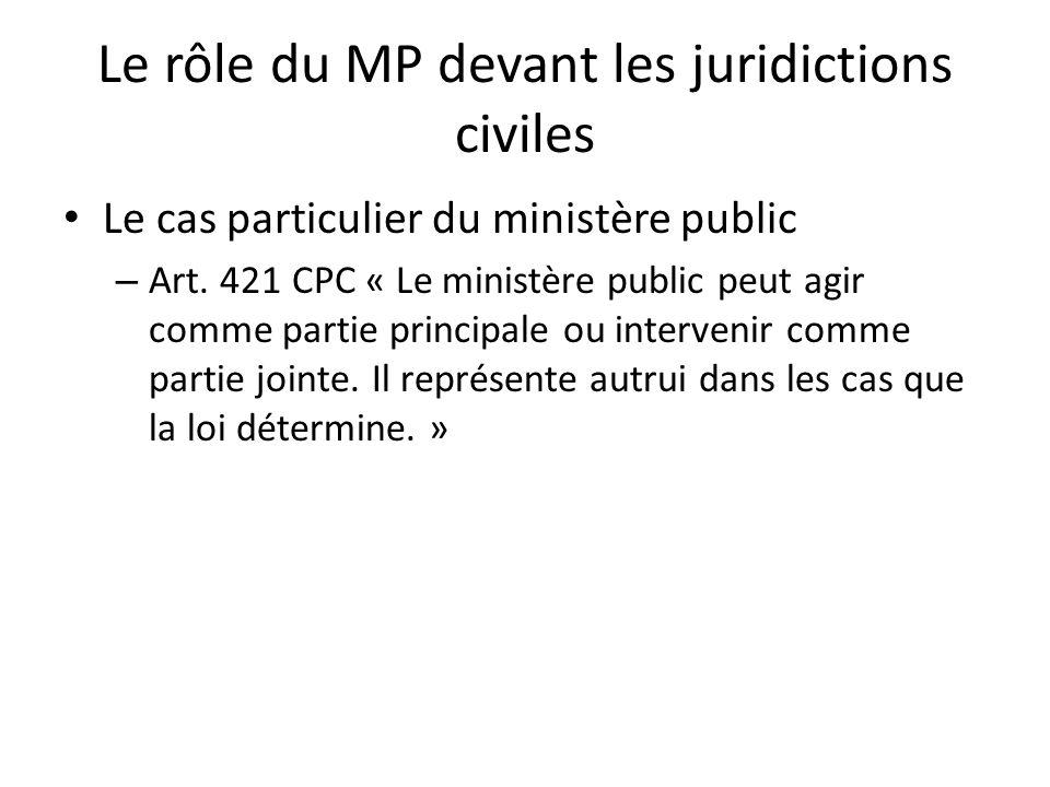 Le rôle du MP devant les juridictions civiles
