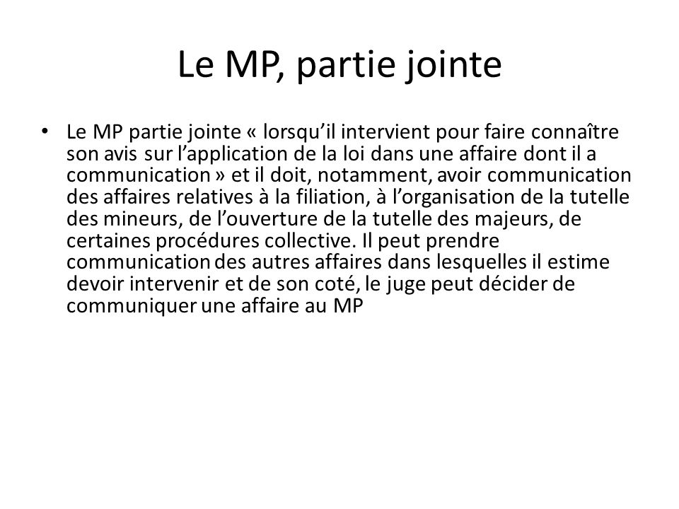 Le MP, partie jointe