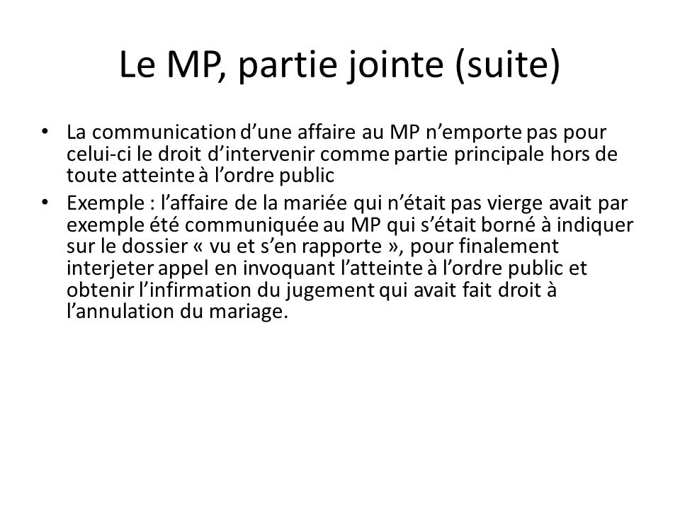 Le MP, partie jointe (suite)
