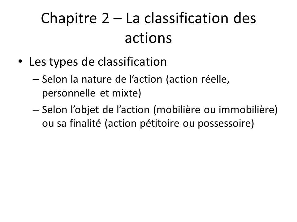 Chapitre 2 – La classification des actions