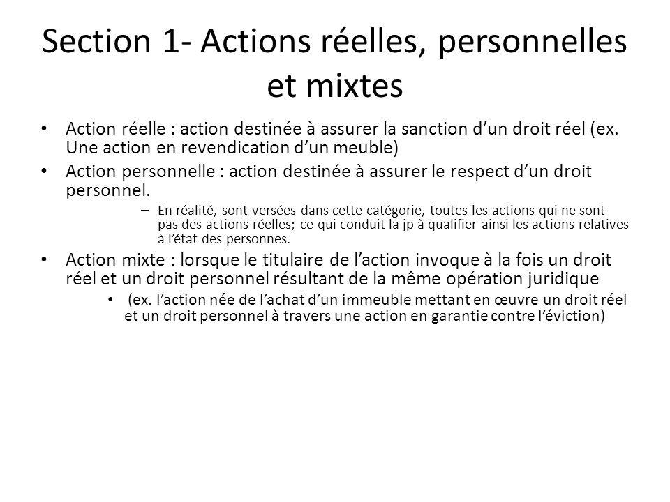 Section 1- Actions réelles, personnelles et mixtes
