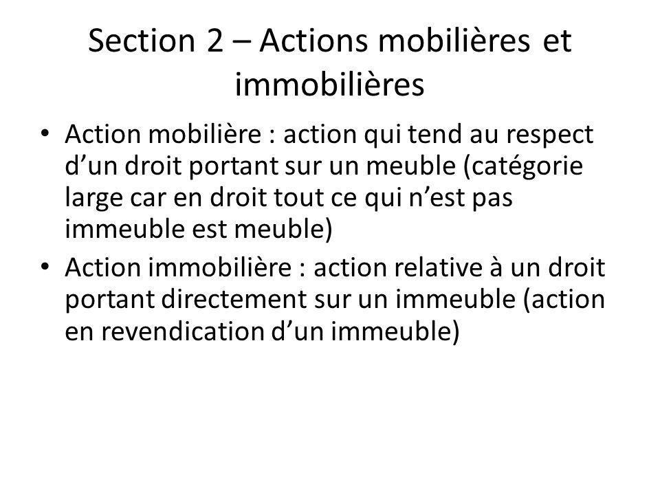 Section 2 – Actions mobilières et immobilières