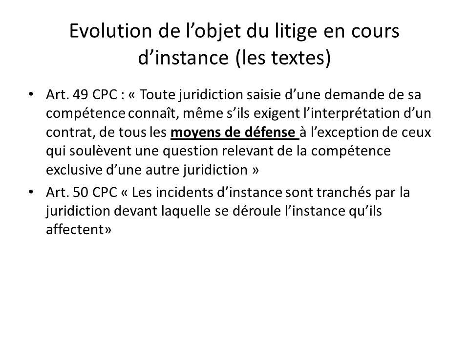 Evolution de l'objet du litige en cours d'instance (les textes)