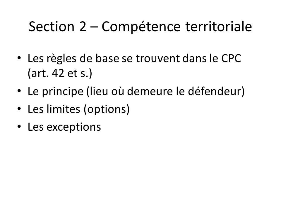 Section 2 – Compétence territoriale