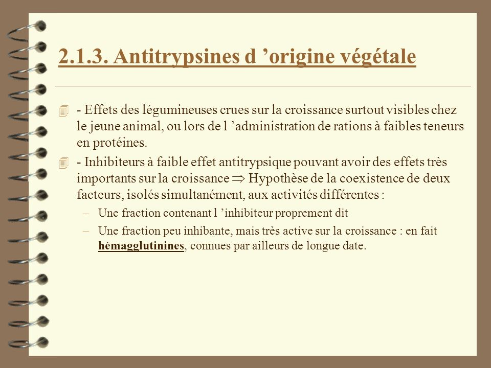 Antitrypsines d 'origine végétale