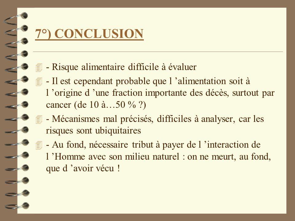7°) CONCLUSION - Risque alimentaire difficile à évaluer