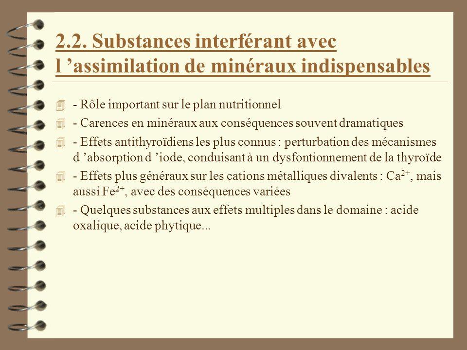 2.2. Substances interférant avec l 'assimilation de minéraux indispensables