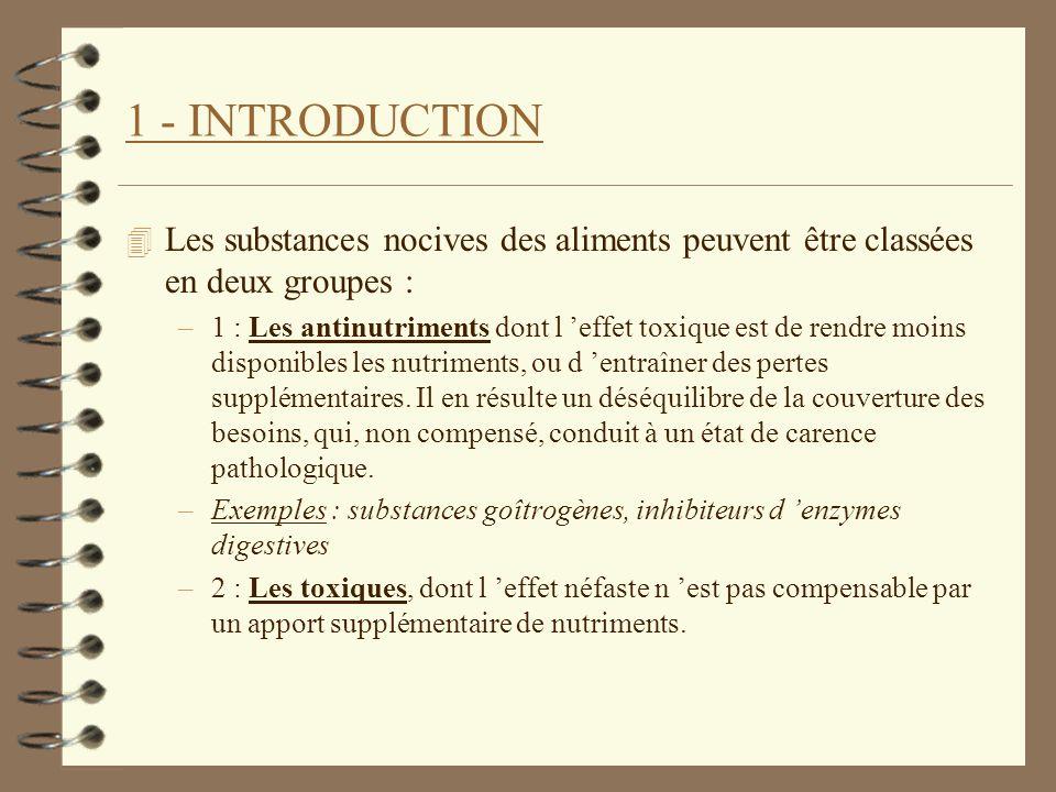 1 - INTRODUCTION Les substances nocives des aliments peuvent être classées en deux groupes :