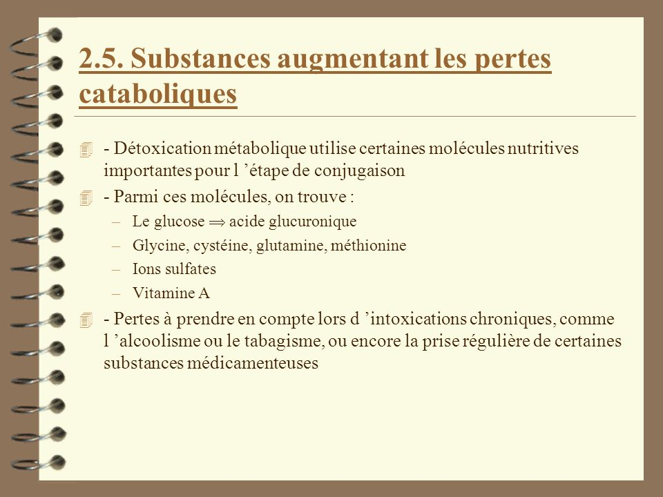 2.5. Substances augmentant les pertes cataboliques